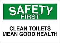 清潔なトイレはまず健康の安全を意味します メタルポスター壁画ショップ看板ショップ看板表示板金属板ブリキ看板情報防水装飾レストラン日本食料品店カフェ旅行用品誕生日新年クリスマスパーティーギフト