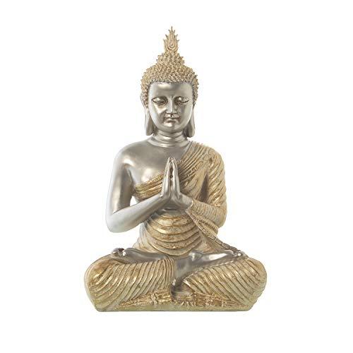 DRW Figura de un Buda de Resina en Plata y Dorado 22,5x30x50cm
