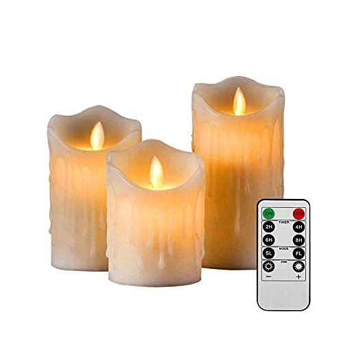 YCFxcy Set di 3 Candele a LED Senza Fiamma Candela in Vera Cera con Funzione Timer a Fiamma Mobile Telecomando Camera da Letto elettrica per Matrimonio Natale