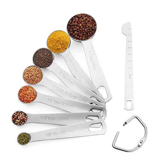 Set Cuilleres Doseuses en acier inoxydable 8 pièces avec règle de mesure Lot de Tasses et cuillères à mesurer pour Cuisine Cuisson Cuisson Ingrédients Liquide et Solide.