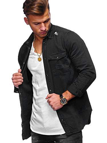 behype. Herren Langarm Destroyed Jeans-Hemd Denim Freizeit-Hemd Shirt 90-8715 Schwarz L
