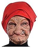 Horror-Shop Alte Oma Faschings Maske mit Kopftuch für Karneval