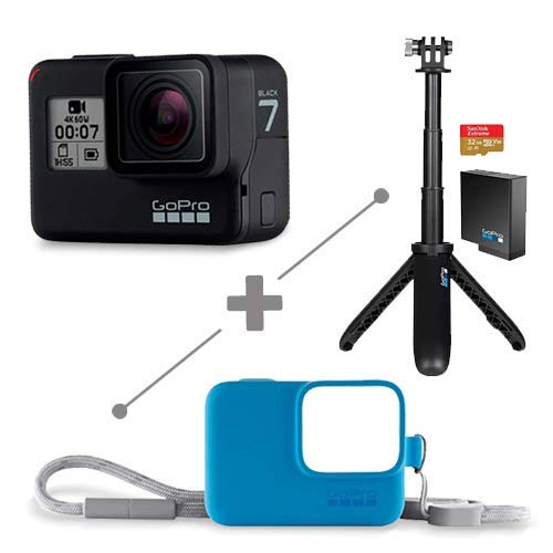 GoPro Bundle Hero 7 Black+Shorty+batería recargable+Memoria de 32+ Sleeve And Lanyard (Azul) .