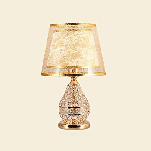 LLLKKK Lámpara de mesa europea minimalista de cristal para mesita de noche, salón, estudio, oficina, dormitorio, decoración (color: plateado)