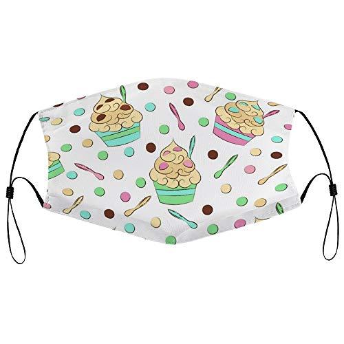 Dkisee Fashion Unisex Staubmaske mit Filterelement, verstellbare Ohrschlaufen, Gesichtsmaske, Outdoor-Schutzmaske (süßes nahtloses Frozen Joghurt-Muster)