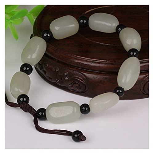 COKILU Genunine Hetian White Jade Bracelets Bangle Hand-carved Jadite Jade Beads Bracelet Jade Jewelry Real Jade Bracelets Bangle Evil Spirits Money Drawing Wealth Fortune