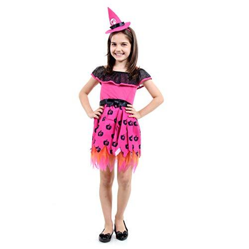 Sulamericana Fantasias Barbie Bruxinha Infantil , G 10/12 Anos, Rosa/Preto