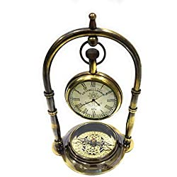 NauticalMart Nautical Clock Ship Table Clock Brass Desk Clock Maritime Brass Compass with Victoria London Pocket Watch (Antique Finish)