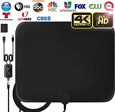 [LATEST 2020] Amplified HD Digital TV Antenna Long 120 Miles Range - Support 4K 1080p Fire tv Stick and All Older TV's Indoor Powerful HDTV Amplifier Signal Booster - 18ft Coax Cable/AC Adapter