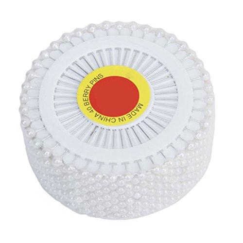 ULTNICE 480 Pezzi Spilli Dritti Sartoria Spillo con Punta Perle Plastica Bianco 3mm x 38 mm