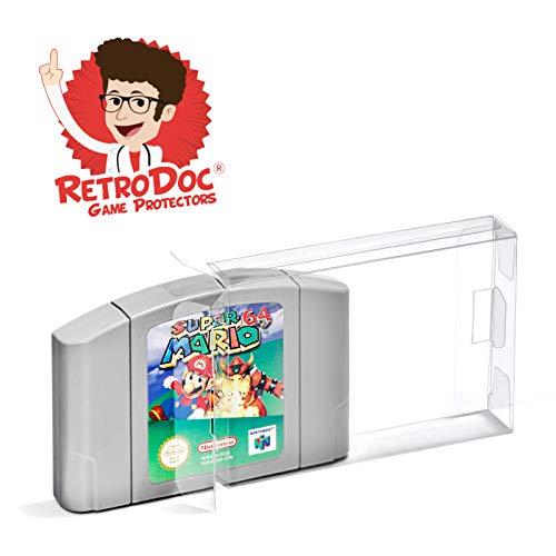 5 Klarsicht Schutzhüllen für Nintendo 64 Game Module Carts - Passgenau und Glasklar - PET - Retro-Doc Game Protectors – N64 Modul - Extra Laschen - Extra Schutzfolie – N64 Spielemodule