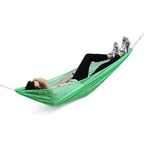 amaca 1 piazza BESTSOON Amaca 190 * 130 Centimetri 1-2 Persona Ice Seta Outdoor Hammock di Nylon Corda appesa Netto Dormire Letto a Due piazze (Colore : Verde