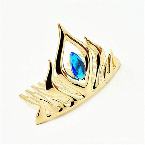 NUIOsdz 5 Corona Oro Azul Cristal Corona Tocado del Pelo