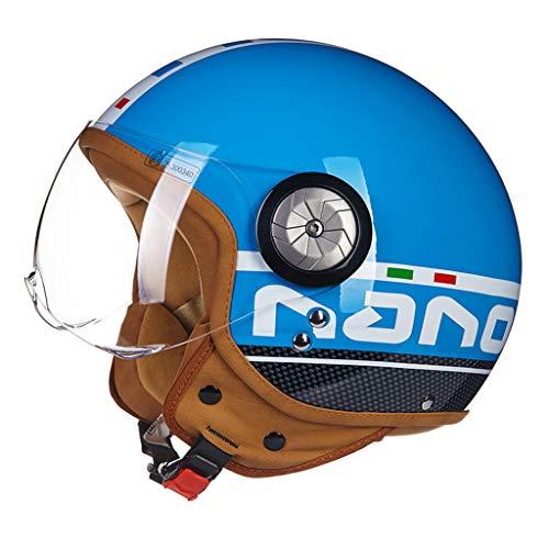 Casque moto hommes et femmes demi casque casque de locomotive de voiture électrique rétro casque (Couleur : B-L(57-58cm))