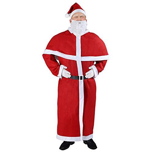 Deuba Weihnachtsmann Kostüm 5tlg. Set Nikolaus Anzug Erwachsenen Santa Claus Cosplay Verkleidung Einheitsgröße M - XXXL