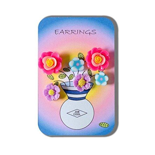 3 Paar Fimo Blume Ohrringe Flower Vase Geschichte Karte von Joe Cool präsentiert