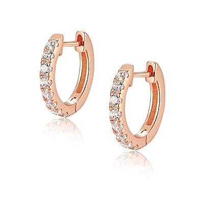 Jewlpire 925 Sterling Silver Huggie Hoop Earrings for Women Girls - Rose Gold Plated Diamond Cut AAAAA+ CZ Handmade Sparkle Hoop Earrings Cuff Stud, Hypoallergenic Girls Cartilage Earrings - Rose Gold