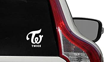 Twice Logo Text Small Car Vinyl Sticker Decal Bumper Sticker for Auto Cars Trucks Windshield Custom Walls Windows Ipad MacBook Laptop Home and More  White