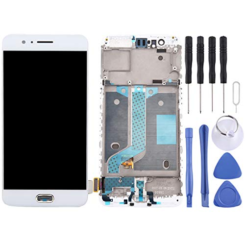 ELECTRONICS MobilePhone REPLACEMENT PART SMART for OnePlus 5 LCD-scherm en Digitizer Volledige Vergadering met Frame (zwart) (Color : White)