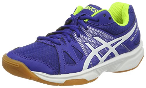 Asics Gel-Upcourt GS, Zapatillas de Bádminton Niños, (Blue/White/Safety Yellow), 33.5 EU