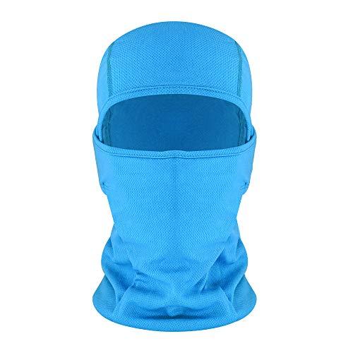 hikevalley Balaclava Face Mask Adjustable Windproof UV Protection Hood (Light Blue)