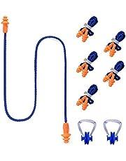 Asuthink Tapones para los oídos de Silicona, 6 Pack Tapones Natacion con 2 Pack Pinza de Nariz para Natación, Tapones oidos Ruido para Nadar o Dormir