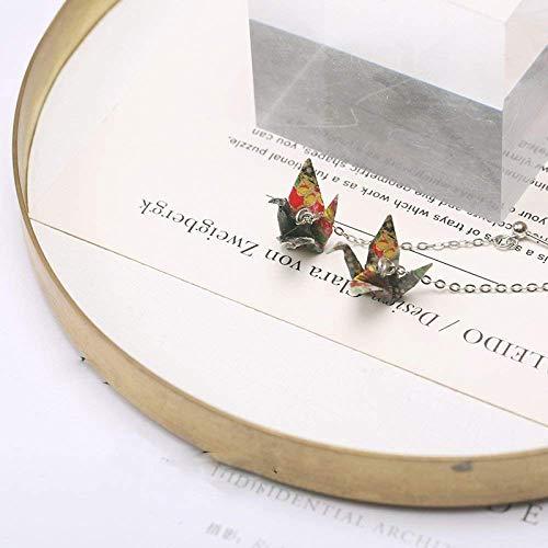 YXZQ Arete, aretes de Temperamento Coreano, aretes de grulla de Origami Frescos Personalizados, aretes Largos de Plata esterlina Simples y Dulces para Mujer