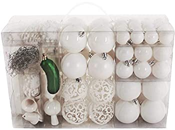 BRUBAKER 101 Pack Assorted Christmas Ball Ornaments - Shatterproof - with Green Pickle and Tree Topper - Designed in Germany - White