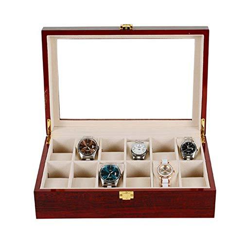 AJH 12 Slot Kirschholz Uhrenbox Vitrine Glas Top Schmuck Aufbewahrungsbox Mit Schloss