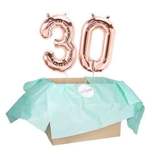 DECORAMI XXL-Zahlenballons ''30'' Roségold, Helium-gefüllte Ballons zum Geburtstag | Heliumballon | Geschenkidee für Jahrestag, Jubiläum, Hochzeitstag | ca. 7 Tage Schwebedauer