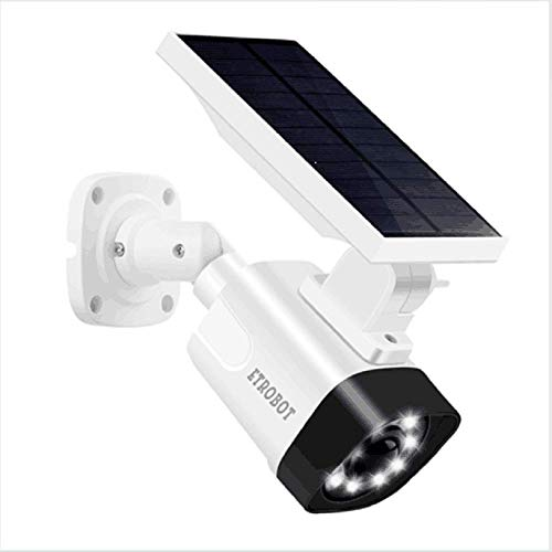 Solar Powered Motion Sensor Light and ETROBOT Dummy Fake Security Camera Combo with PIR Activated 800 Lumen Spotlight, IP66 Waterproof Solar Night Light Outdoor for Yard, Garden, Driveway, Patio