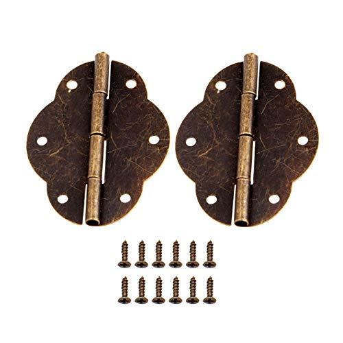 Bowarepro 2 bisagras antiguas retro con 12 tornillos para caja de herramientas vintage de madera, armario de herramientas, armario de joyería, cofre de bronce antiguo, hierro de 56 x 42 mm
