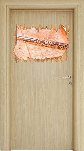 Stil.Zeit Querflöte Bunstift Effekt Holzdurchbruch im 3D-Look, Wand- oder Türaufkleber Format: 62x42cm, Wandsticker, Wandtattoo, Wanddekoration