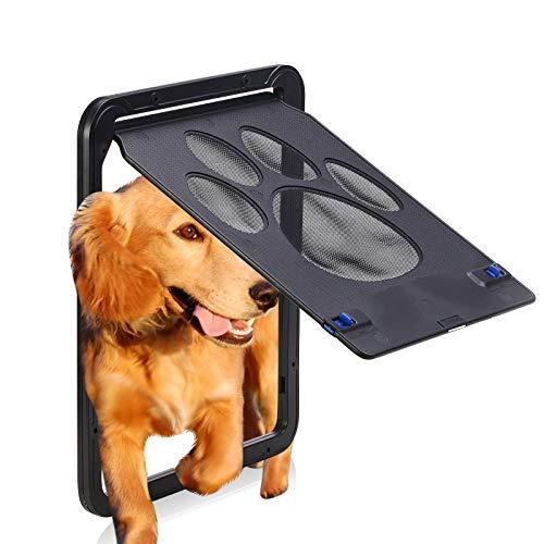 Puerta de pantalla para mascotas – Puerta corredera para perros con solapa magnética para puertas exteriores con cerradura puerta de mascota para gato perro tamaño grande 35.5 x 40.6 cm (grande)