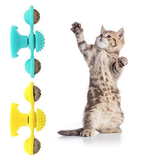 nobrand 2 Piezas de Gato Juguete Molino de Viento, Juguete Interactivo para Gato, Juguete de Gato Giratorio Ventosa para Cosquillas y Limpieza de Dientes - Amarillo y Verde