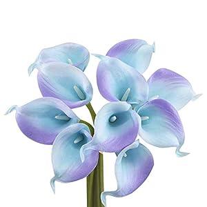 Angel Isabella, LLC Lifelike Artificial Flowers Real Touch Calla Lily Bouquet Bundle 10 Stems (Blue w/Lavender Trim)