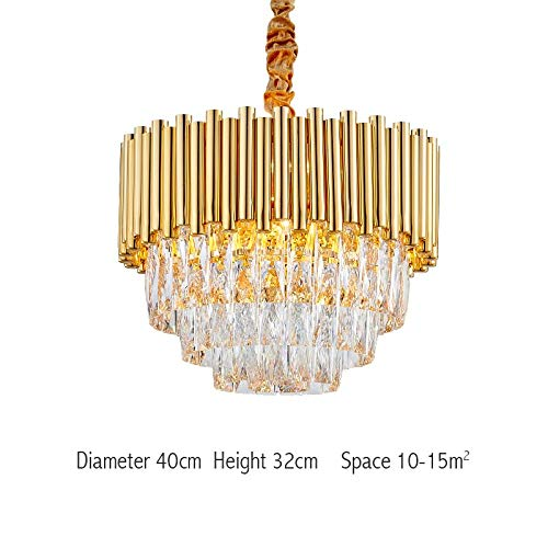Kristalgouden kroonluchter van het moderne ronde luxe design voor de lampen, die hoofd-LED-arrantlampen verlichten