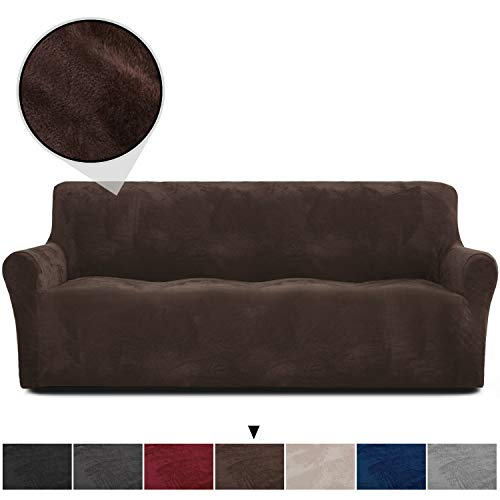 Rose Home Fashion RHF Velvet-Sofa Slipcover,Stretch Sofa Cover, Slipcover for Leather Couch-Polyester Spandex Sofa Slipcover&Couch Cover for Dogs, 1-Piece Sofa Protector(Chocolate-Extra Wide Sofa)