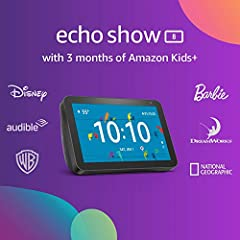 """Better together - Save when you buy Echo Show 8 with 3 months of Amazon Kids+ (FreeTime Unlimited). Alexa is happy to help - With an 8"""" HD screen and stereo sound, Alexa provides endless fun and learning. Parents can enable Amazon Kids (FreeTime) in ..."""
