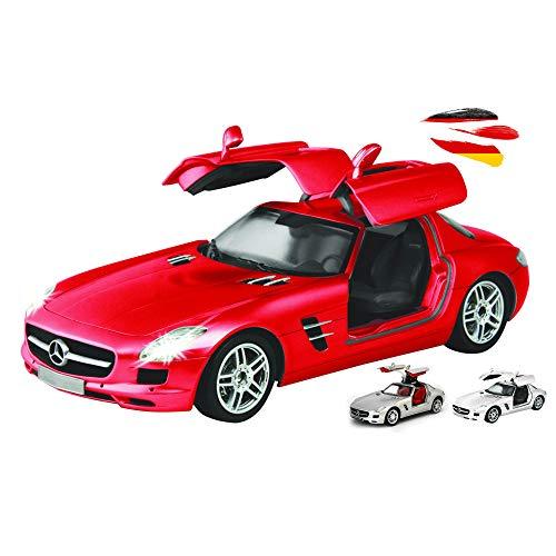 Vehículo teledirigido en diseño original con licencia compatible con Mercedes-Benz SLS AMG, escala 1:16 con iluminación, coche, coche, maqueta, incluye mando a distancia.