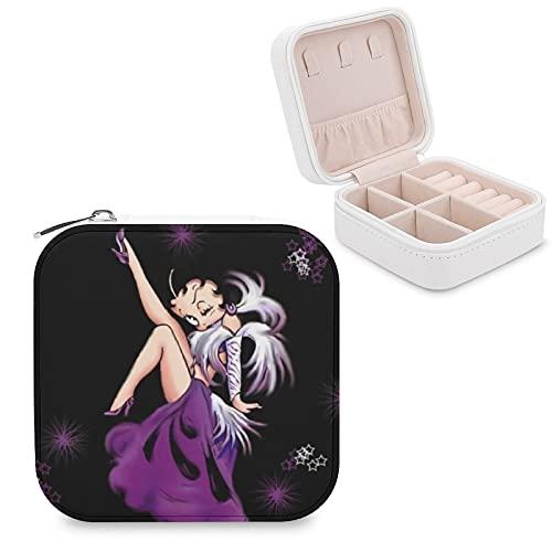 Betty Boop - Joyero de piel sintética para viajes, portátil, para collares, pendientes, pulseras, anillos, relojes, expositores, cajas de joyería para mujeres