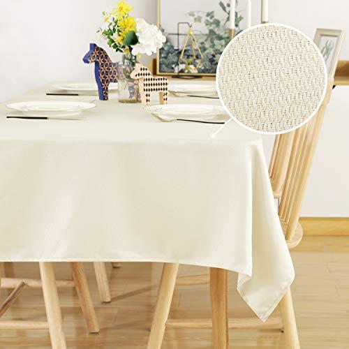 Deconovo Tischdecke Leinenoptik Lotuseffekt Tischwäsche Wasserabweisend Tischtuch Home 130x220 cm Creme