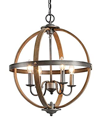 KSANA Farmhouse Chandelier, 4-Light Metal Light Fixture for Dining Room, Bedroom, Foyer, Entryway and Living Room?Faux Wood & Silver Brushed Finish?
