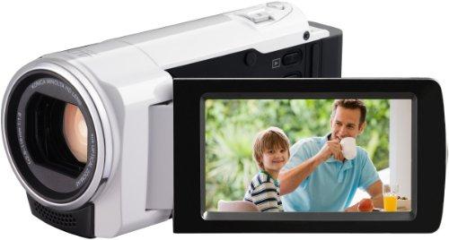 JVC GZ-HM430WEU Full-HD Camcorder (1,5 Megapixel, 6,9 cm (2,7 Zoll) Display, 200-fach digitaler Zoom, Kartenslot) weiß