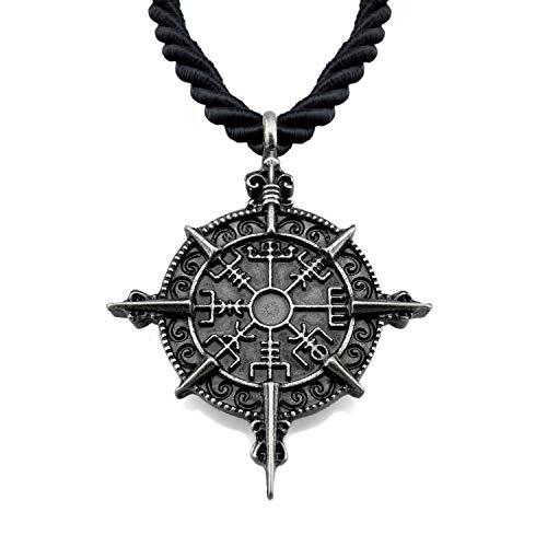 URBANTIMBER Wikinger Halskette Vegvisir mit Kompassrose - Silber oder Gold/Bronze