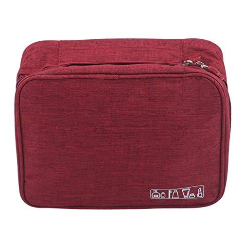 SHIJIAN Lavage Sac De Rangement Zipper Poignée Fourre-Tout Portable Organisateur Comestic Voyage Salle De Bains Sac De Toilette,Vin Rouge