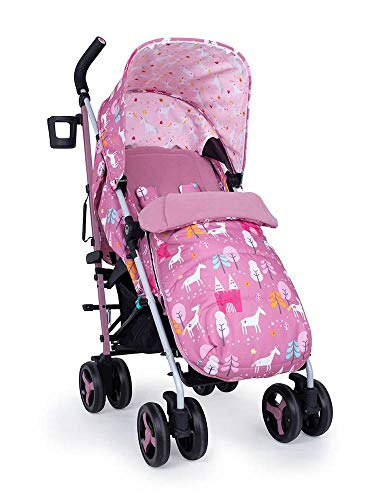 Cosatto Supa 3 Pushchair – Lightweight Stroller from Birth to 25kg | Compact Fold, Large Shopping Basket, Footmuff (Dusky Unicorn Land) ✅
