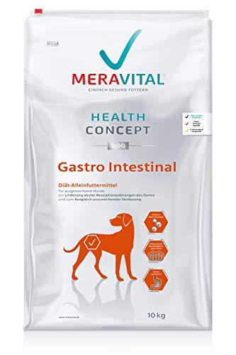 MERAVITAL Gastro Intestinal Hundefutter trocken 10 kg für Hunde bei Verdauungsstörungen, hoch verdauliche Geflügel & Reis Zusammensetzung