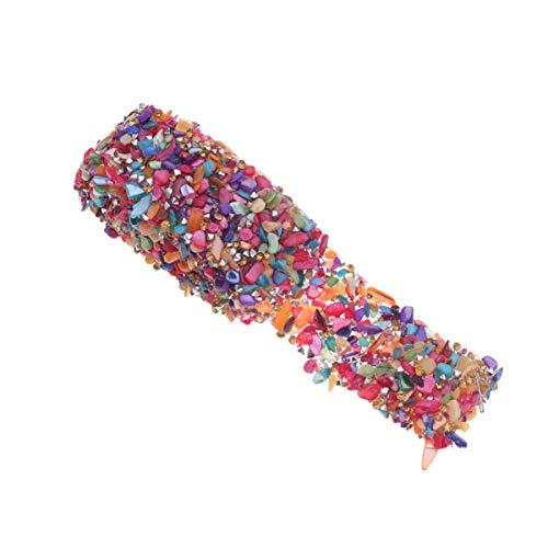 SUPVOX Colorido ribete de piedra rhinestone plano tela ribete de cinta cinturón decorativo para manualidades diy haciendo vestido embellecer diadema 3.5 cm ancho 1 metros (toque)