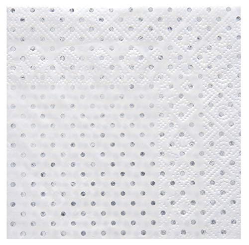 Santex Noel - 20 Serviettes Papier à Pois métallisés Argent